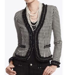 WHBM | houndstooth chain trim jacket